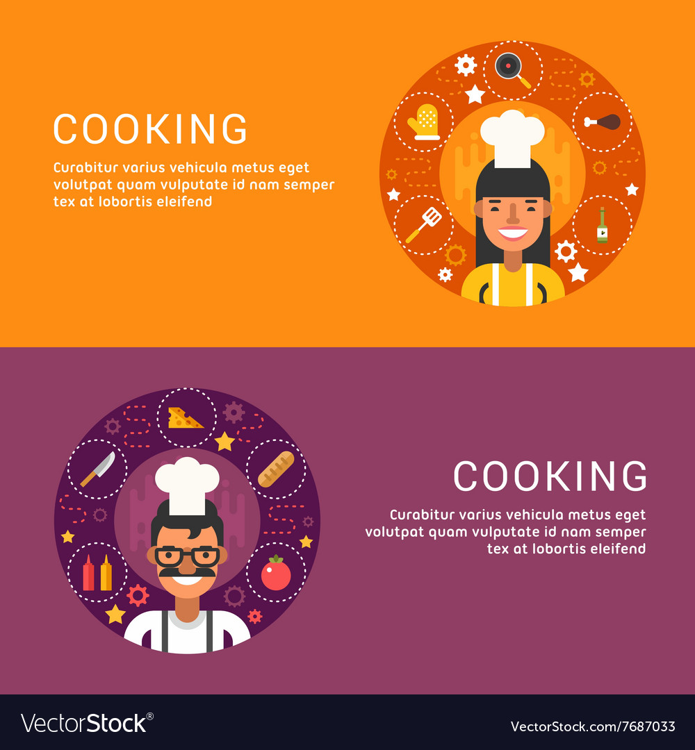 Flat Design Concept for Web Banners Cooking Food vector image