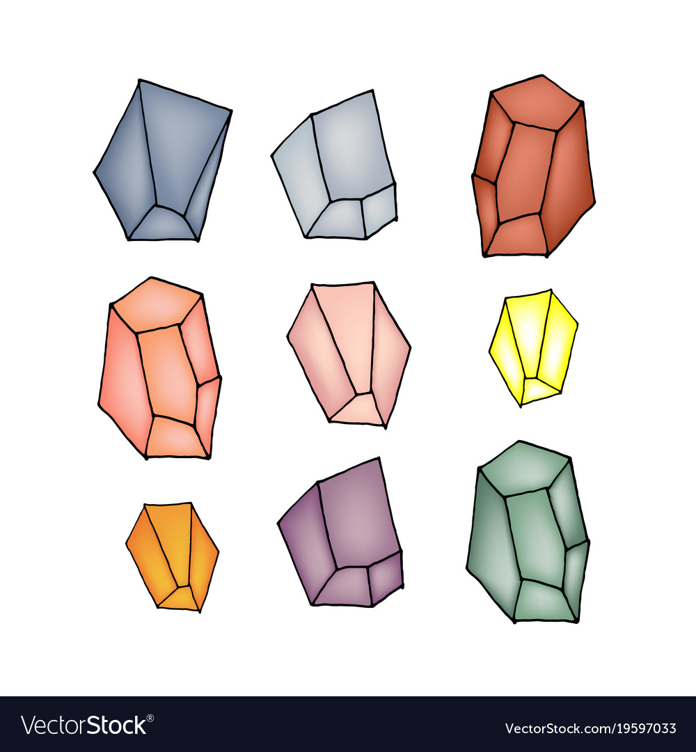 Gems isolated on white background jewels vector image