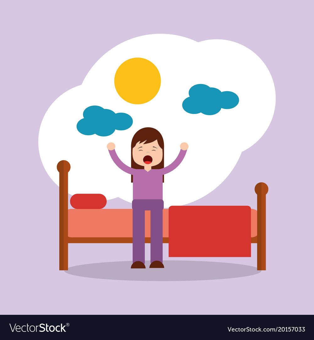 girl waking up stretching sitting on his bed sun vector image rh vectorstock com