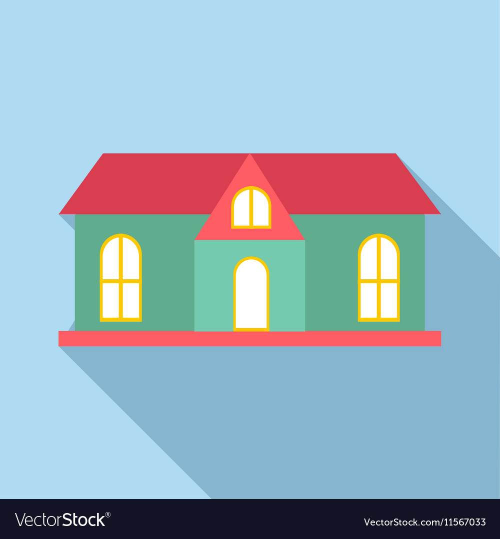 House with red roof icon flat style vector image