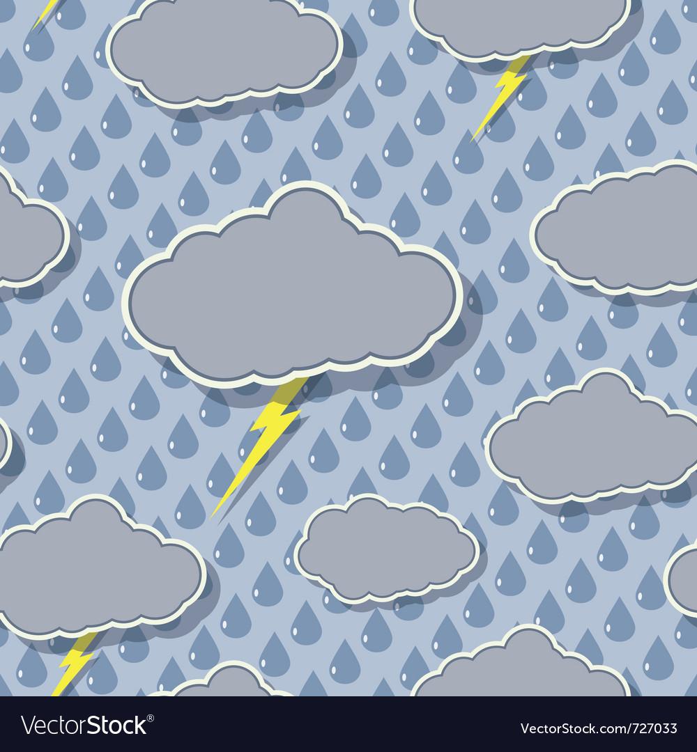 Seamless rain cloud pattern vector image