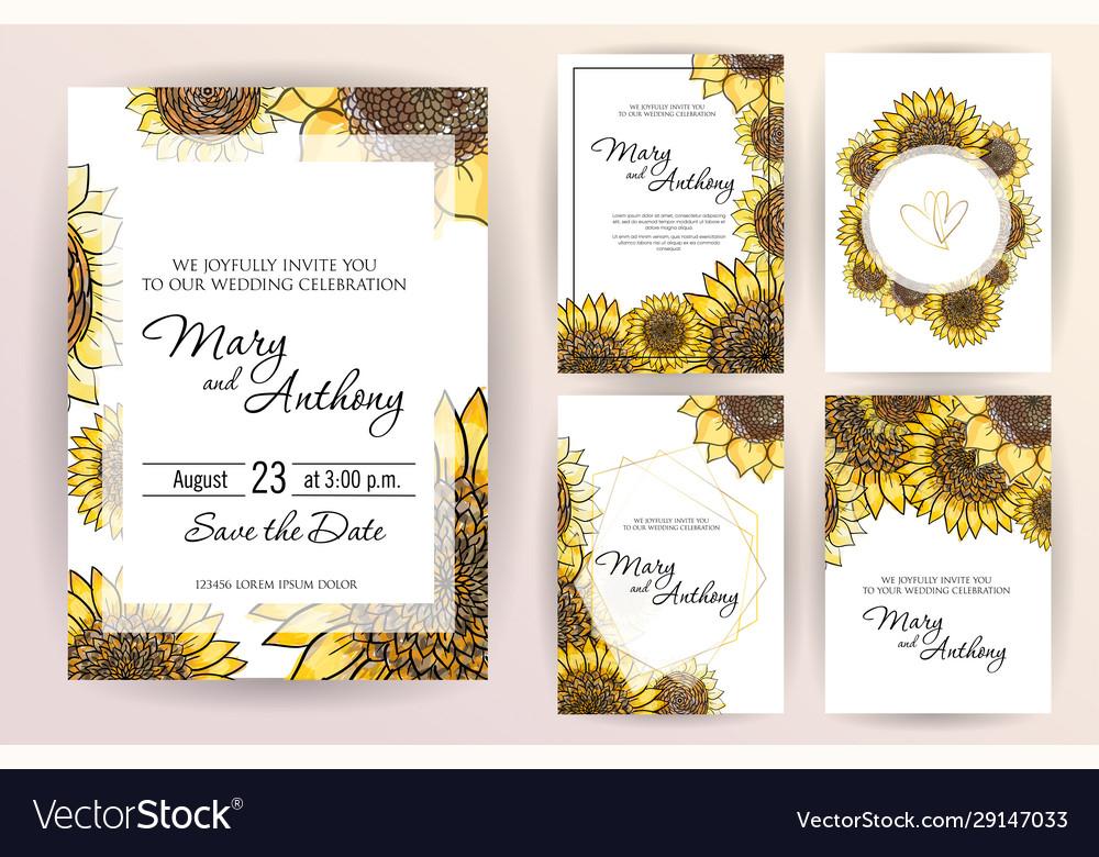 Set wedding invitation card flowers sunflower