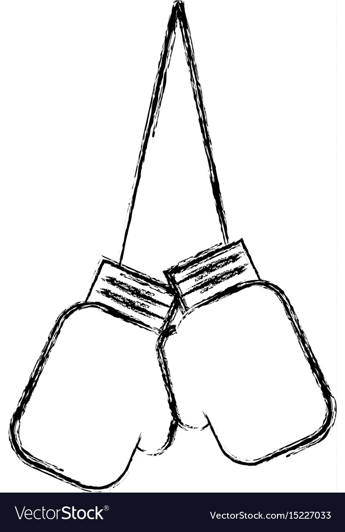 Sketch draw hanging boxing gloves vector image