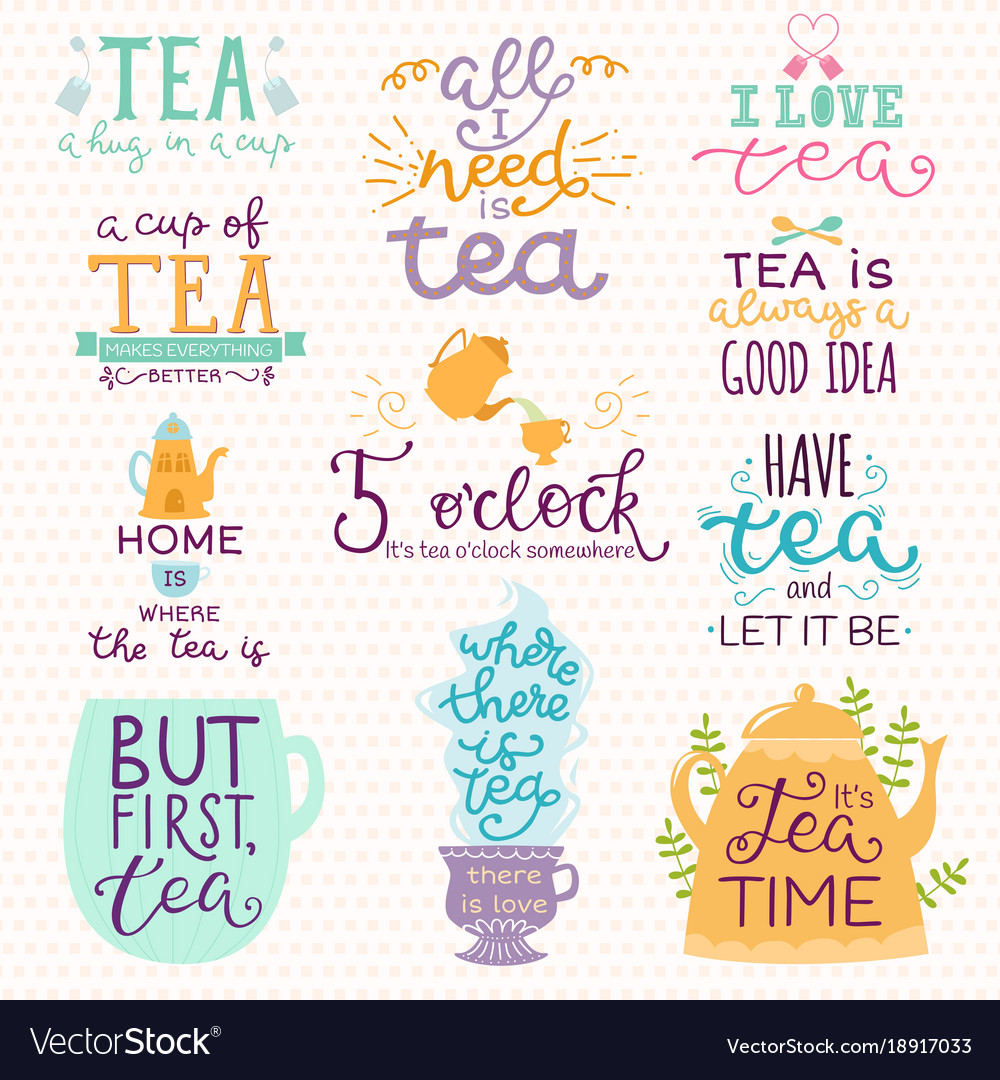 Tea time lettering logo quote lettering