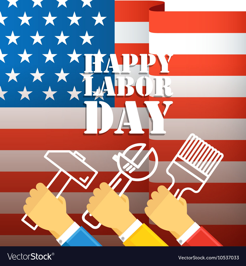 The celebration of The Labor Day greeting card