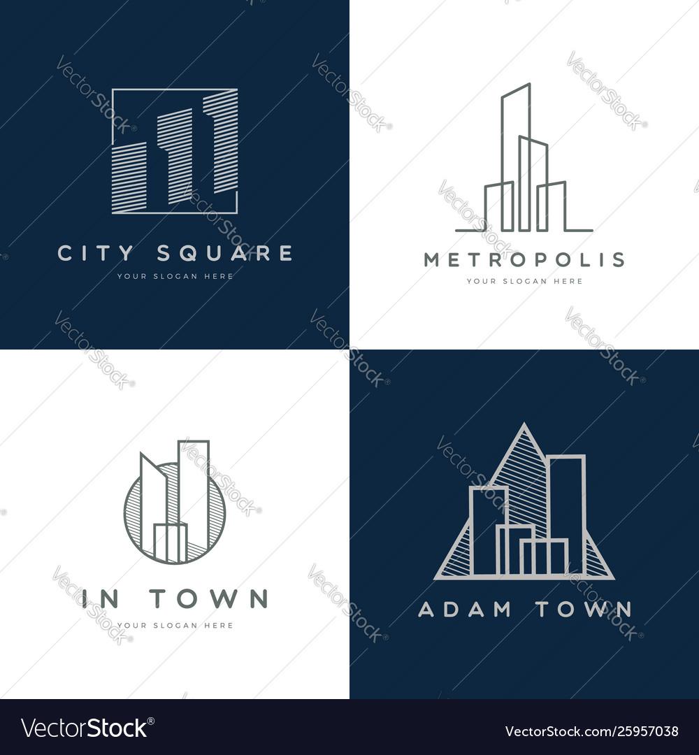 Abstract property logo design set