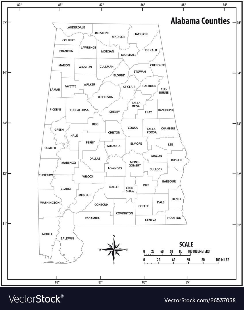 Alabama state outline administrative map