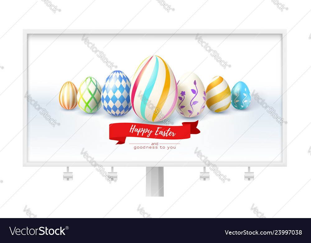 Billboard with festive design for easter greetings