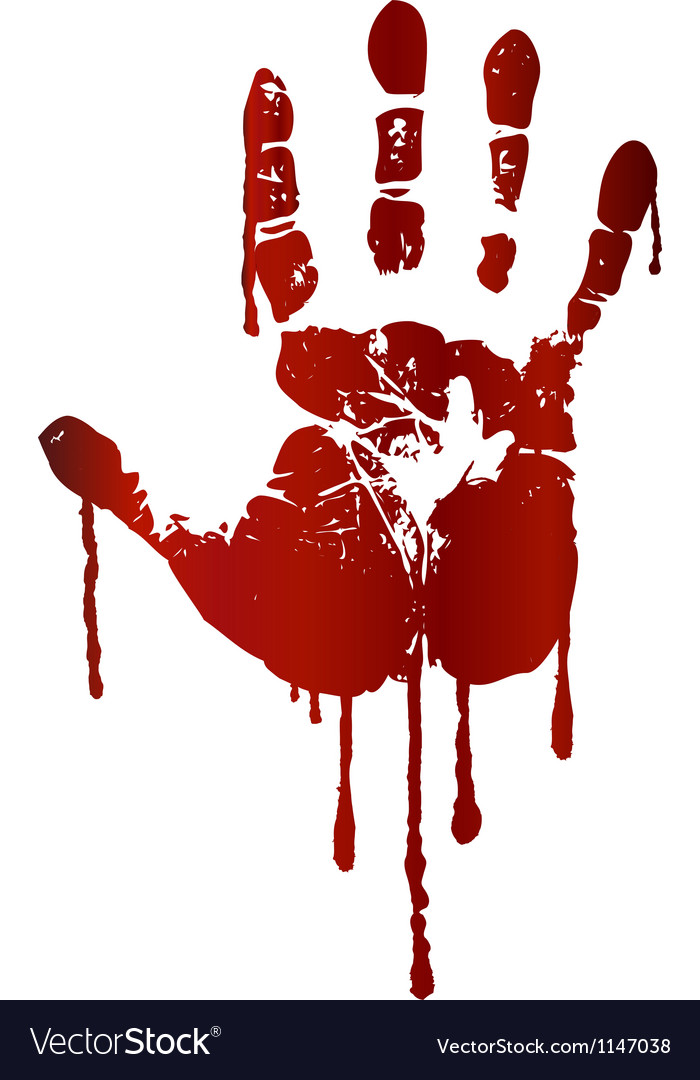 Bloody hand print vector image