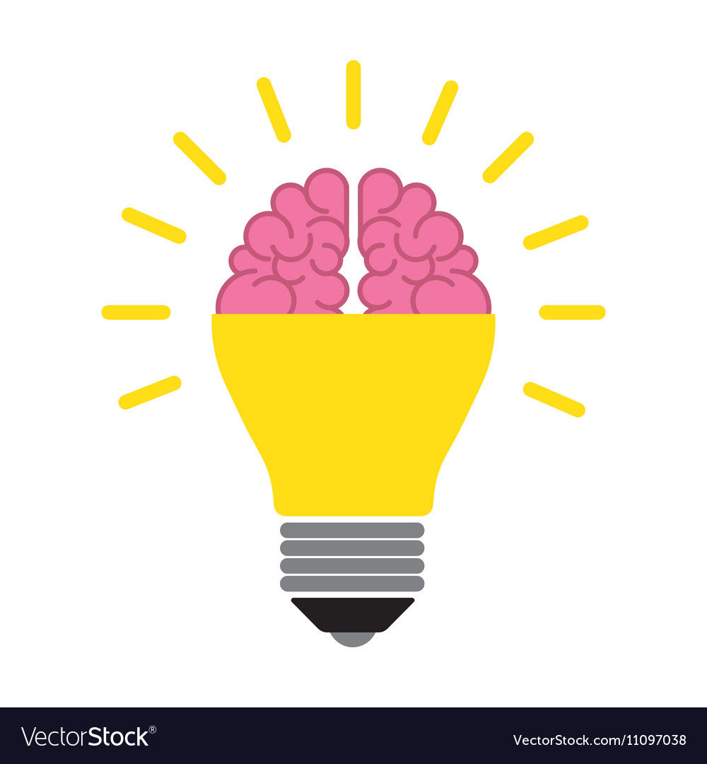 Beautiful Brain In The Light Bulb Vector Image Ideas