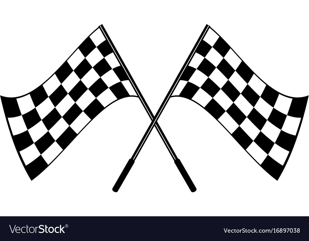 crossed black and white checkered flags logo vector image rh vectorstock com chequered flag logo Checkered Flag Clip Art