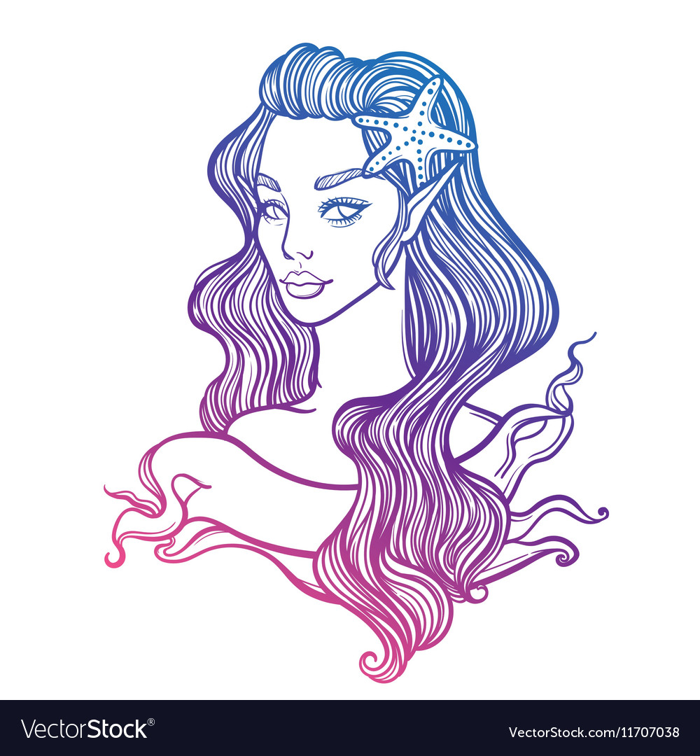 Cute art card with little princess mermaid vector image