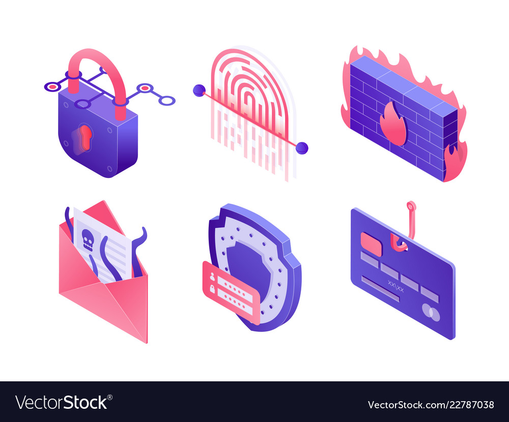Cyber security isometric icons isolated on white