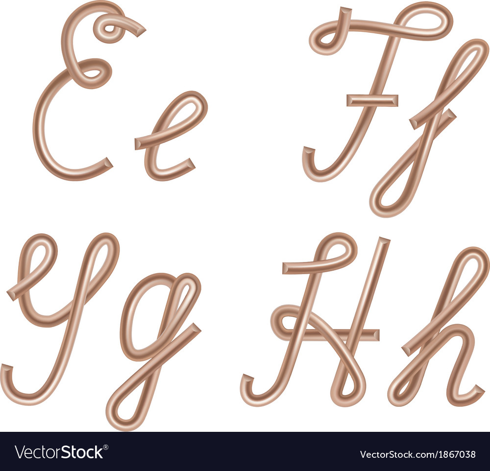E F G H Letters Made of Metal Copper Wire Vector Image