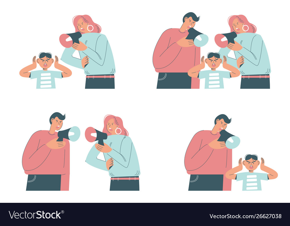 Family conflict scenes flat isolated