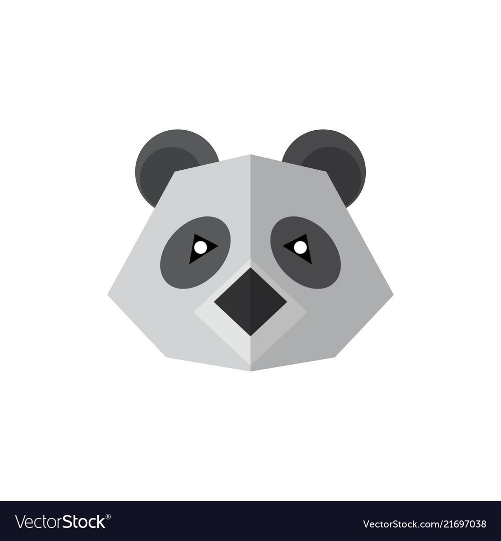 Flat style icon panda isolated on a white