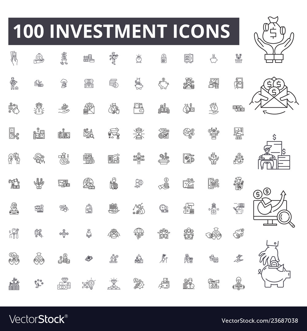 Investment editable line icons 100 set