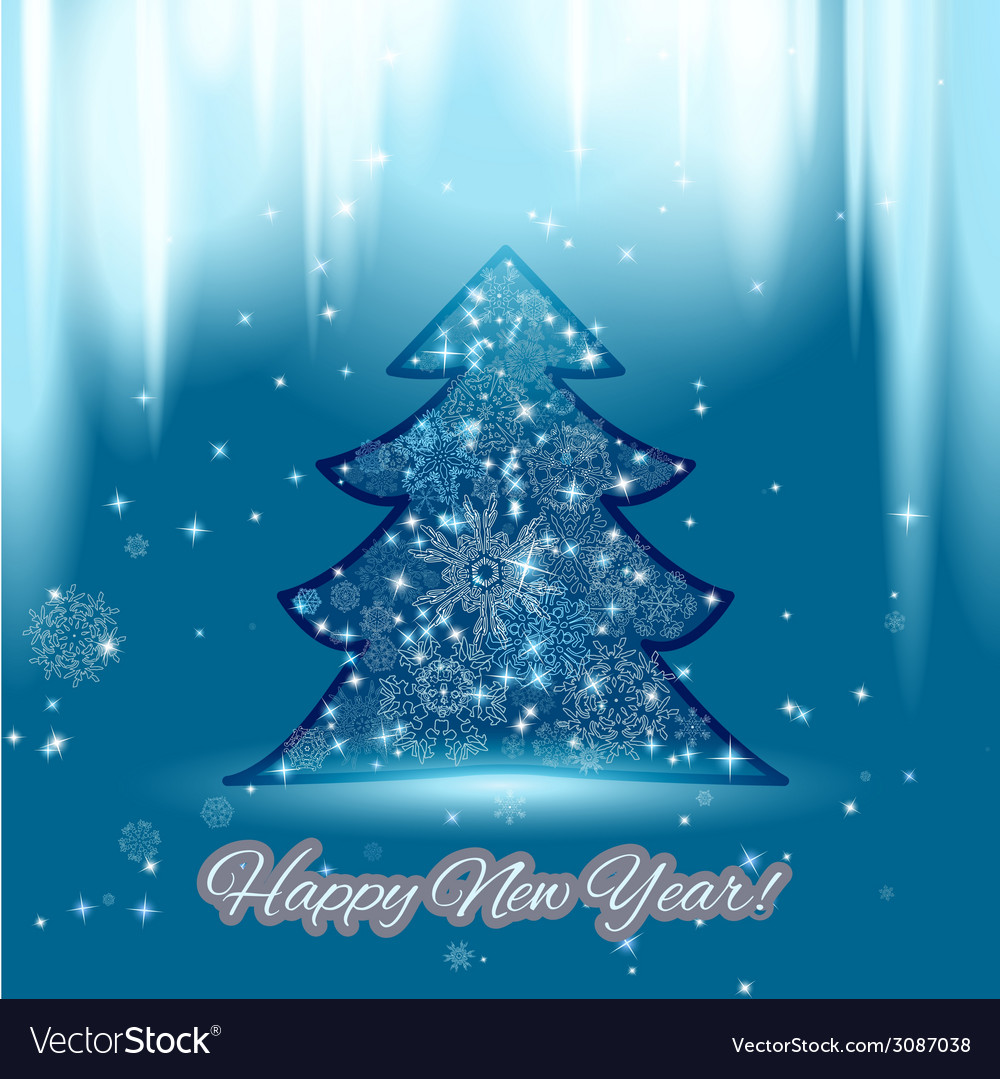 New year background with christmas tree and