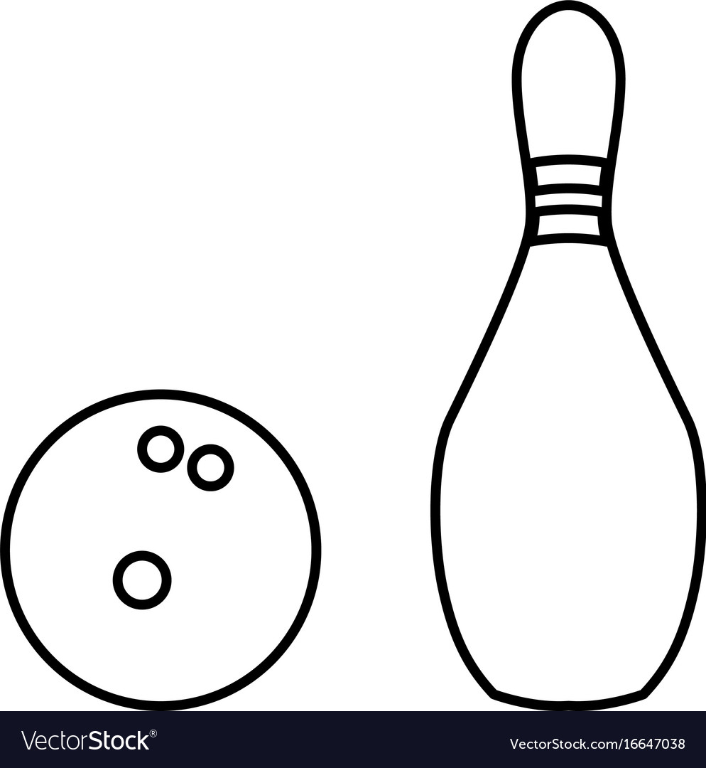 Pin and bowling ball black color icon vector image