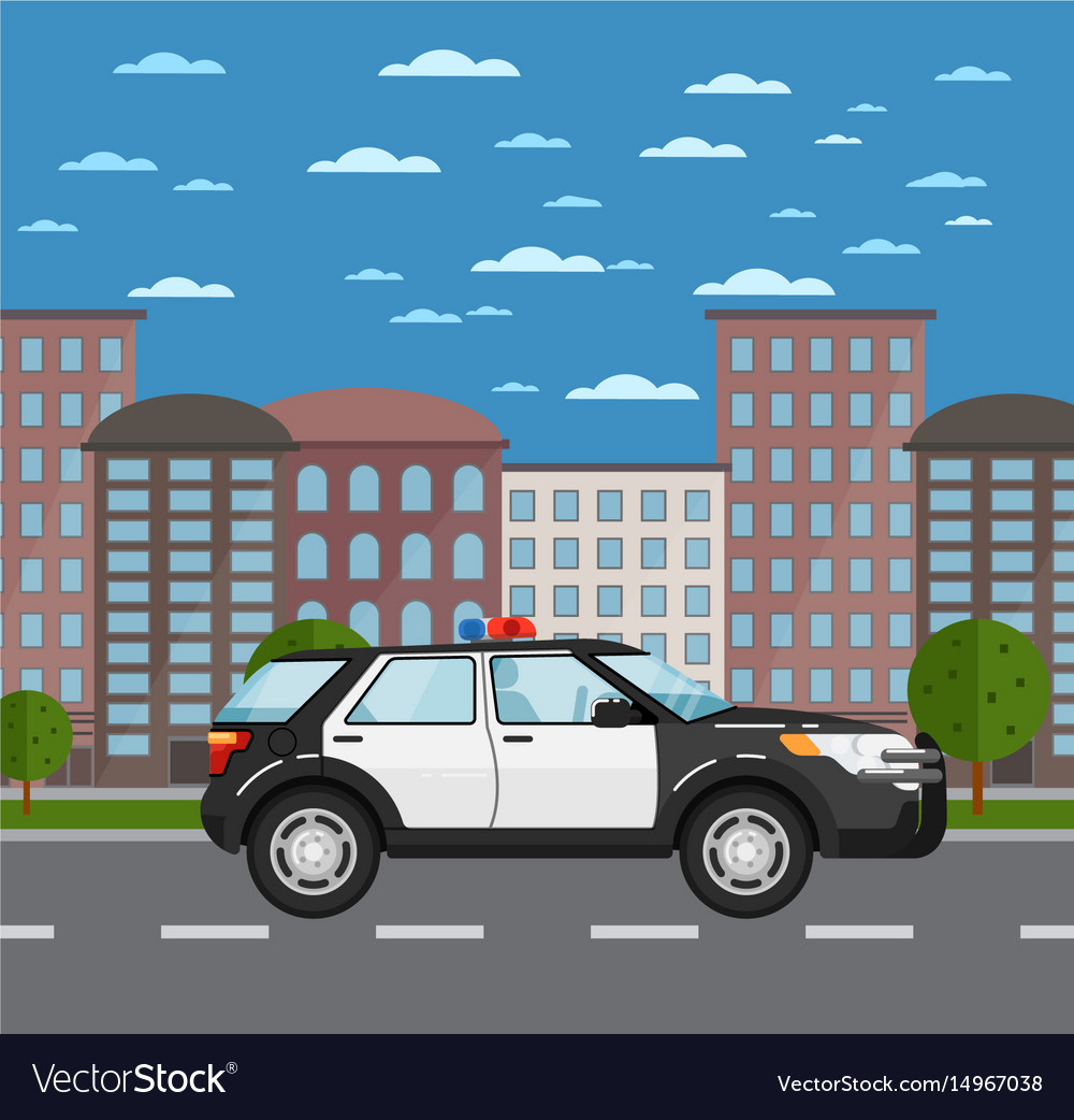 Police suv on road in urban landscape