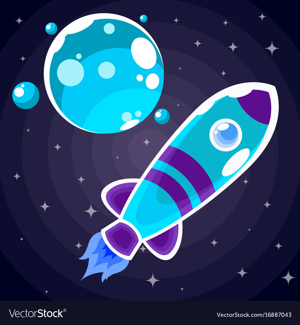 A blue rocket sticker with purple stripes and blue