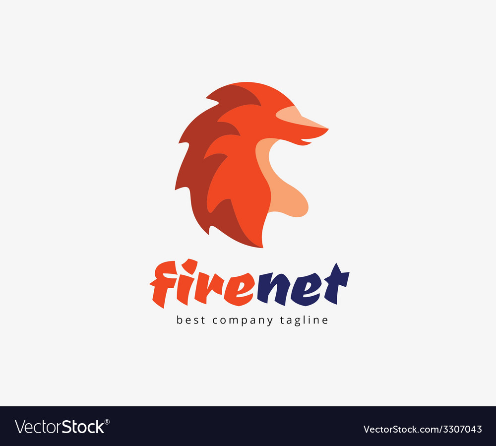Abstract fire fox character logo icon concept