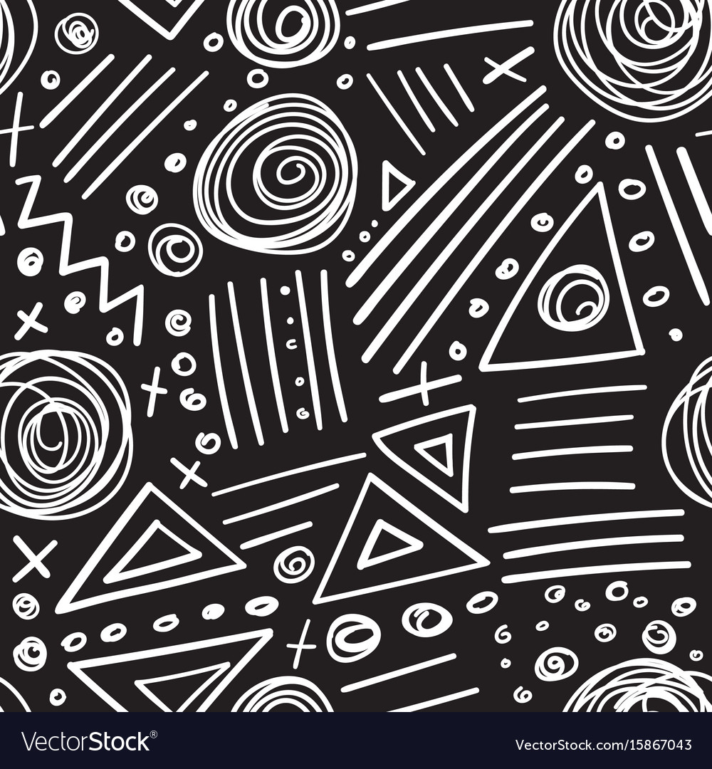 Abstract Marker White Lines On Black Background