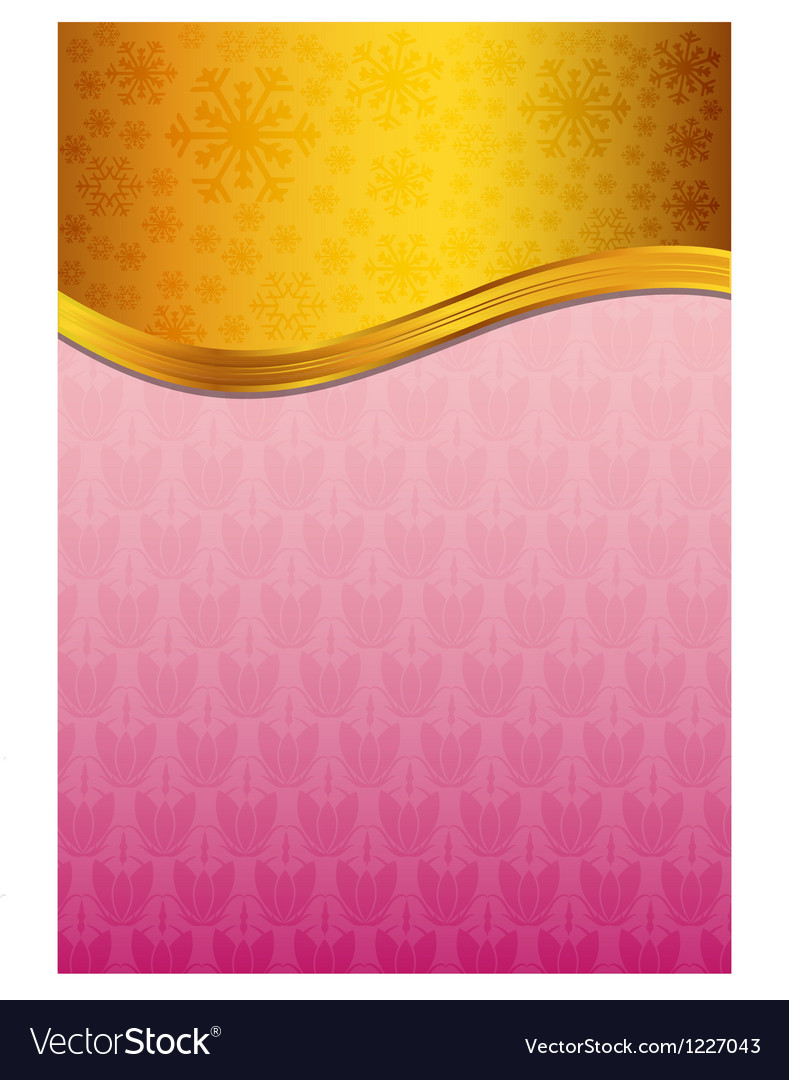 Abstract pink celebration paper with golden ribbon vector image