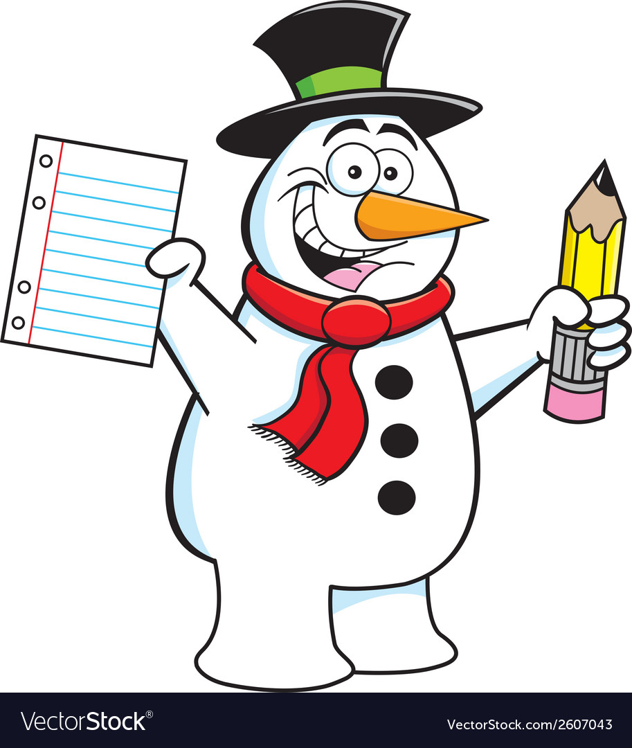 Cartoon Snowman Student vector image