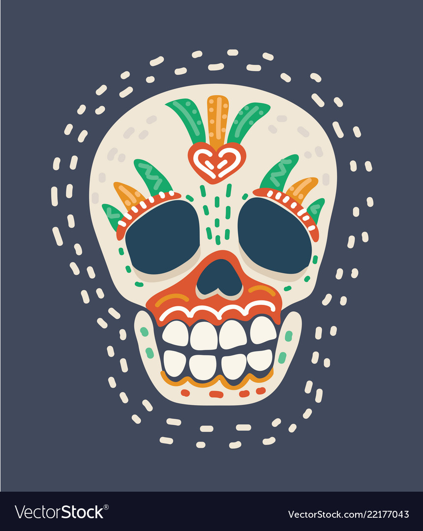 Day of the dead colorful skull