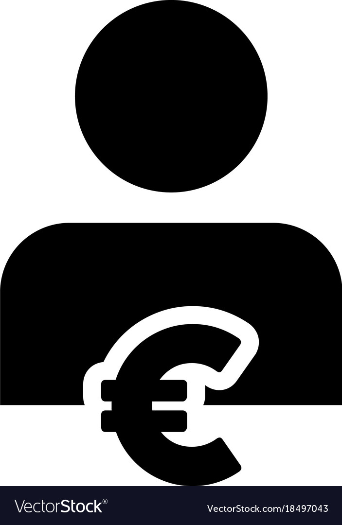 Euro Sign Icon Symbol Currency With Person Vector Image