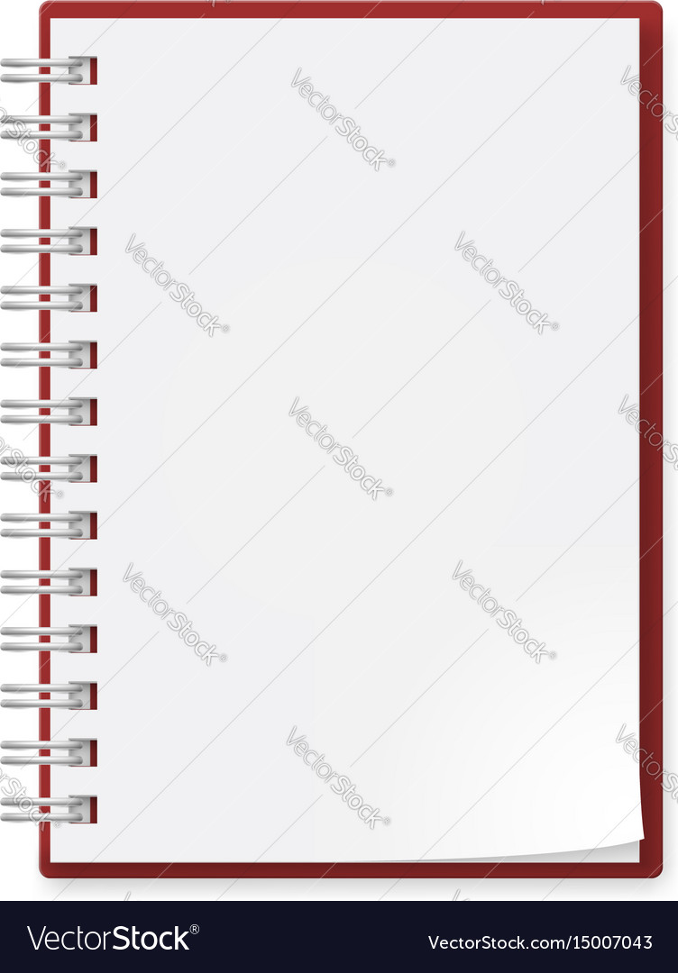Notebook on white background for creative design vector image