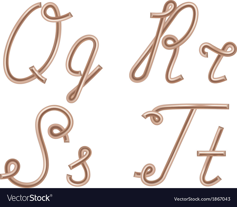 Q R S T Letters Made of Metal Copper Wire Vector Image