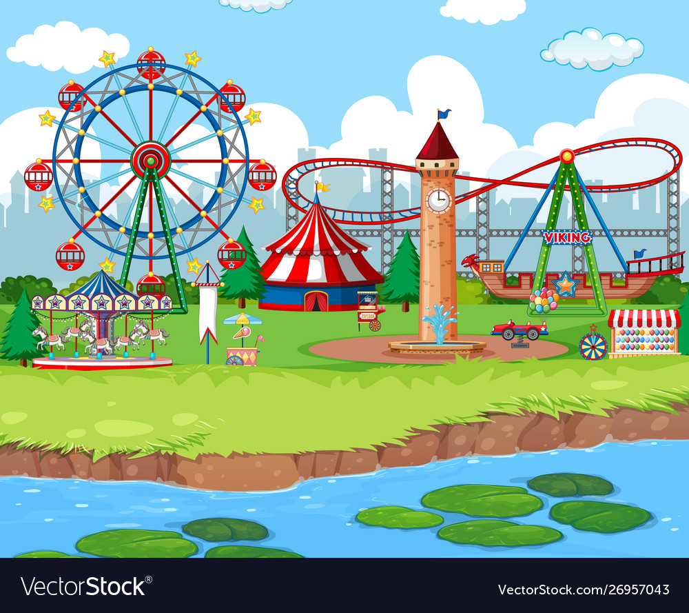 Scene background design with rides at carnival