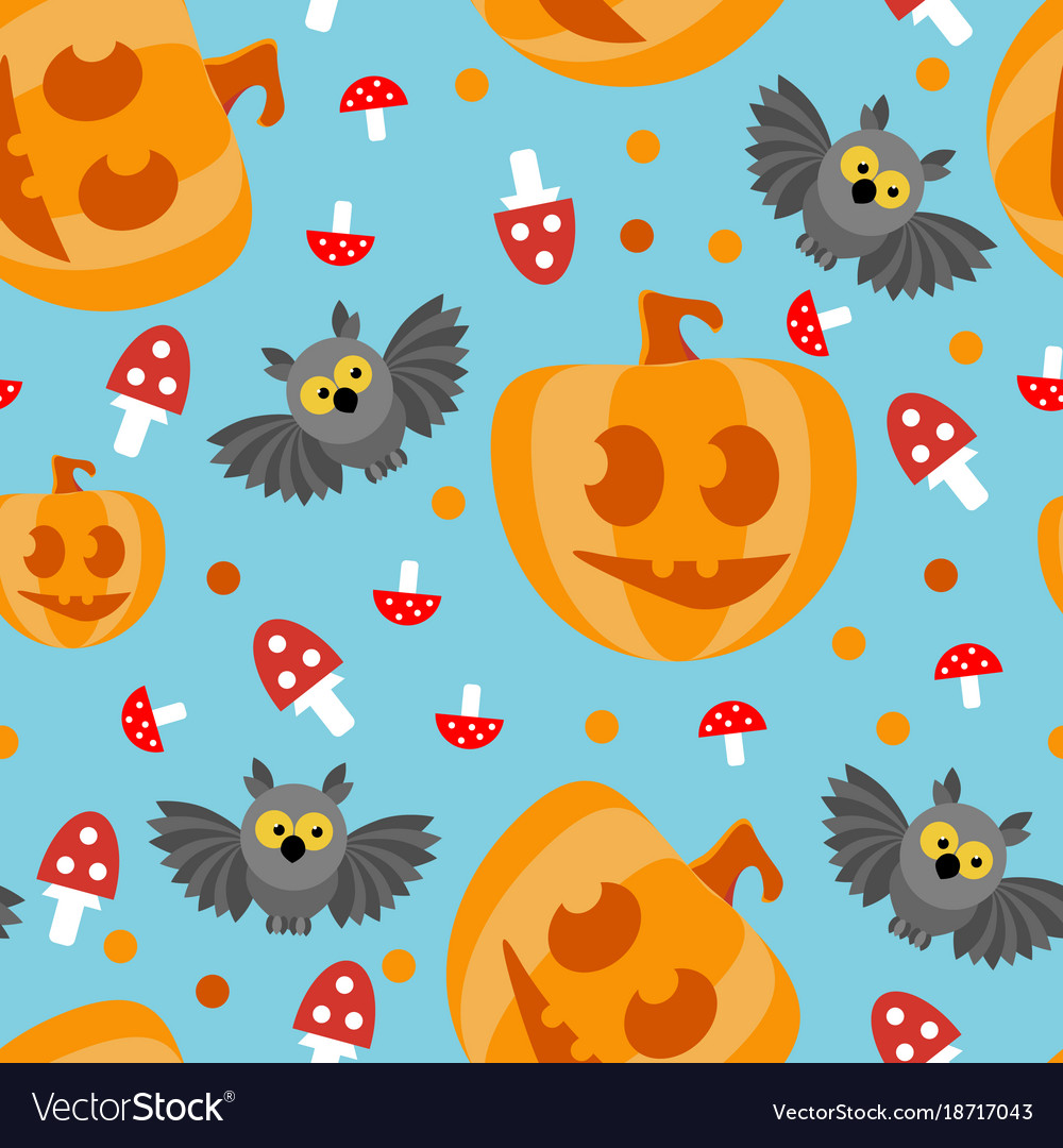 Seamless pattern halloween owl pumpkin with a vector image