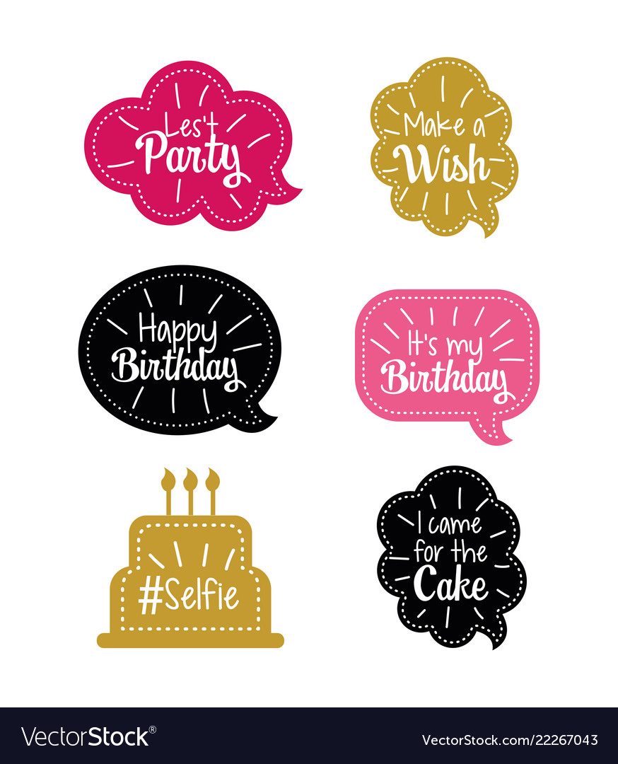 Set chat bubble with happy birthday message