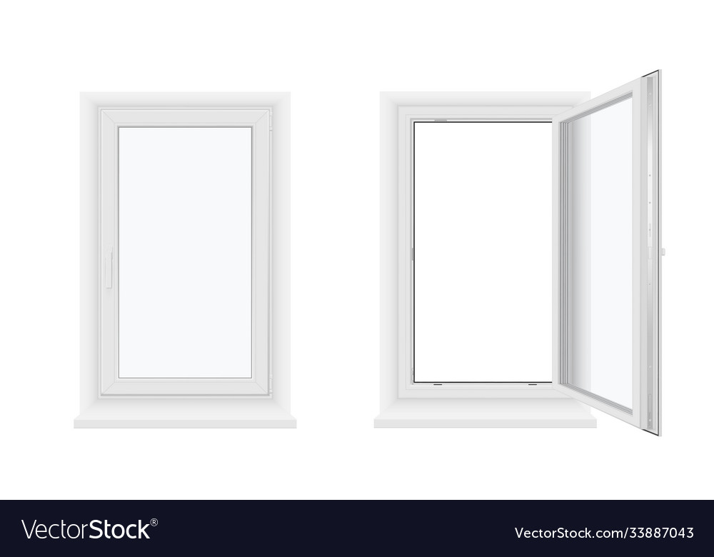 Single plastic windows open and closed with sill