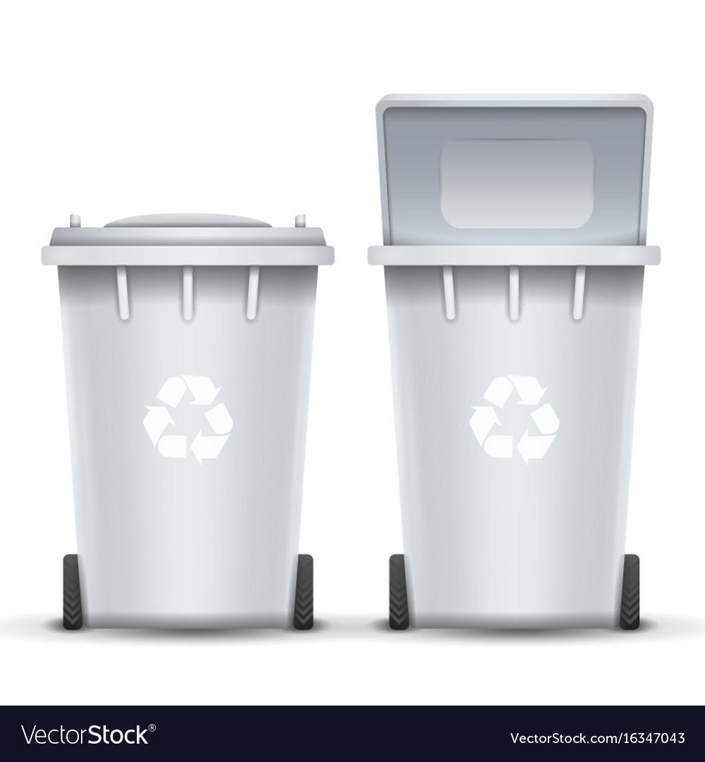 White recycling bin bucket for trash