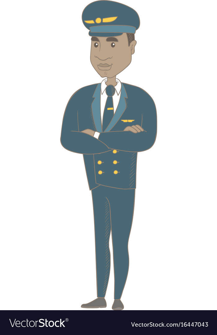 Young african pilot standing with folded arms vector image
