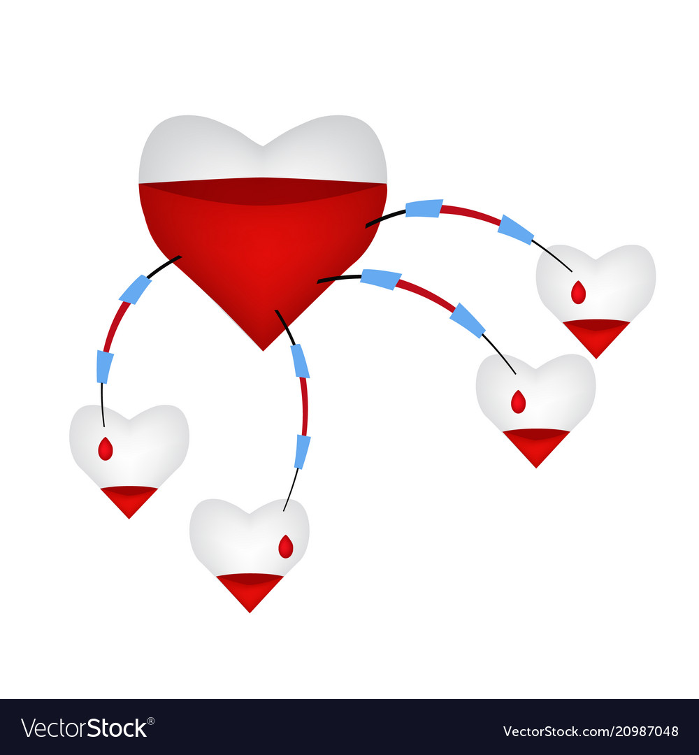 A large heart fills a small heart with blood