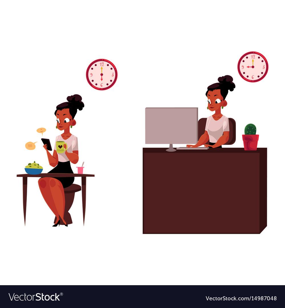 Black african businesswoman having breakfast