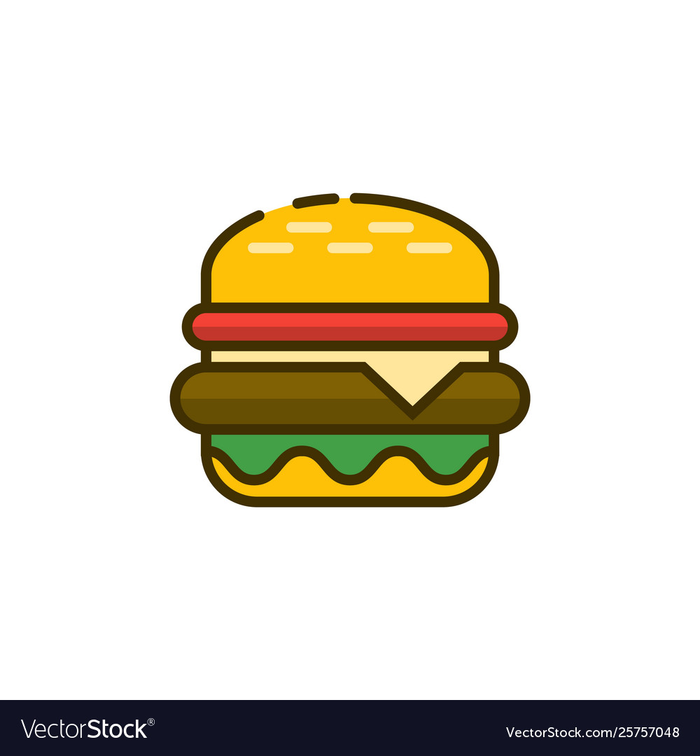 Burger outline icon fast food