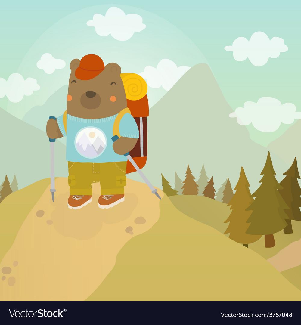 Cartoon bear adventure tourist