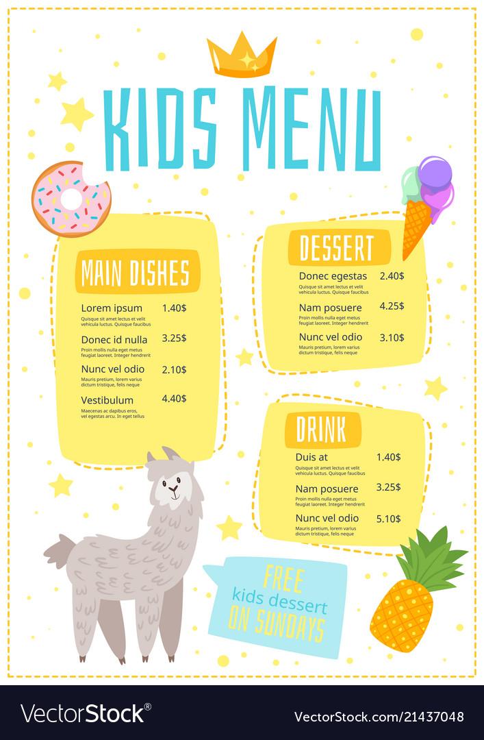 Children menu meal template