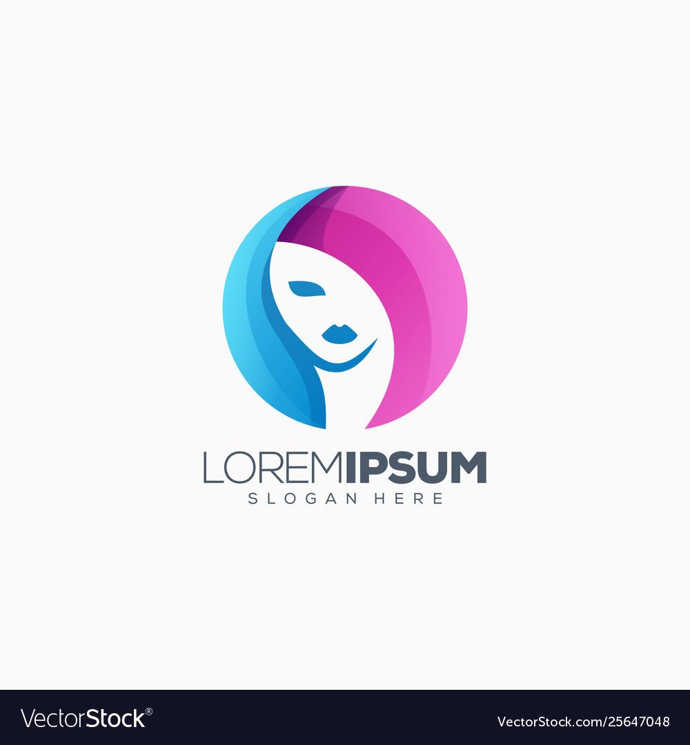Colorful woman logo design