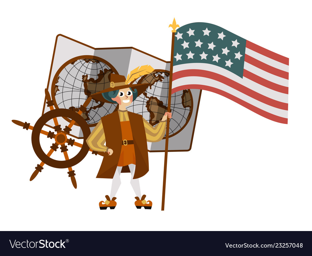 Columbus day poster with columb holding flag