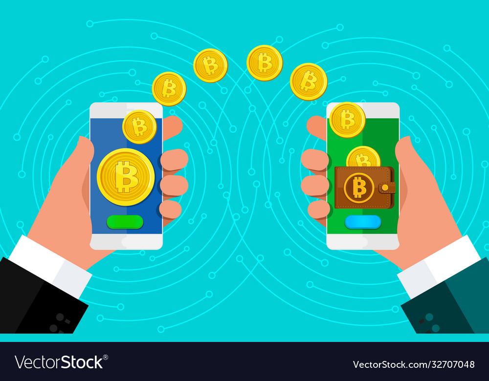 Concept crypto currency phone in hand with a