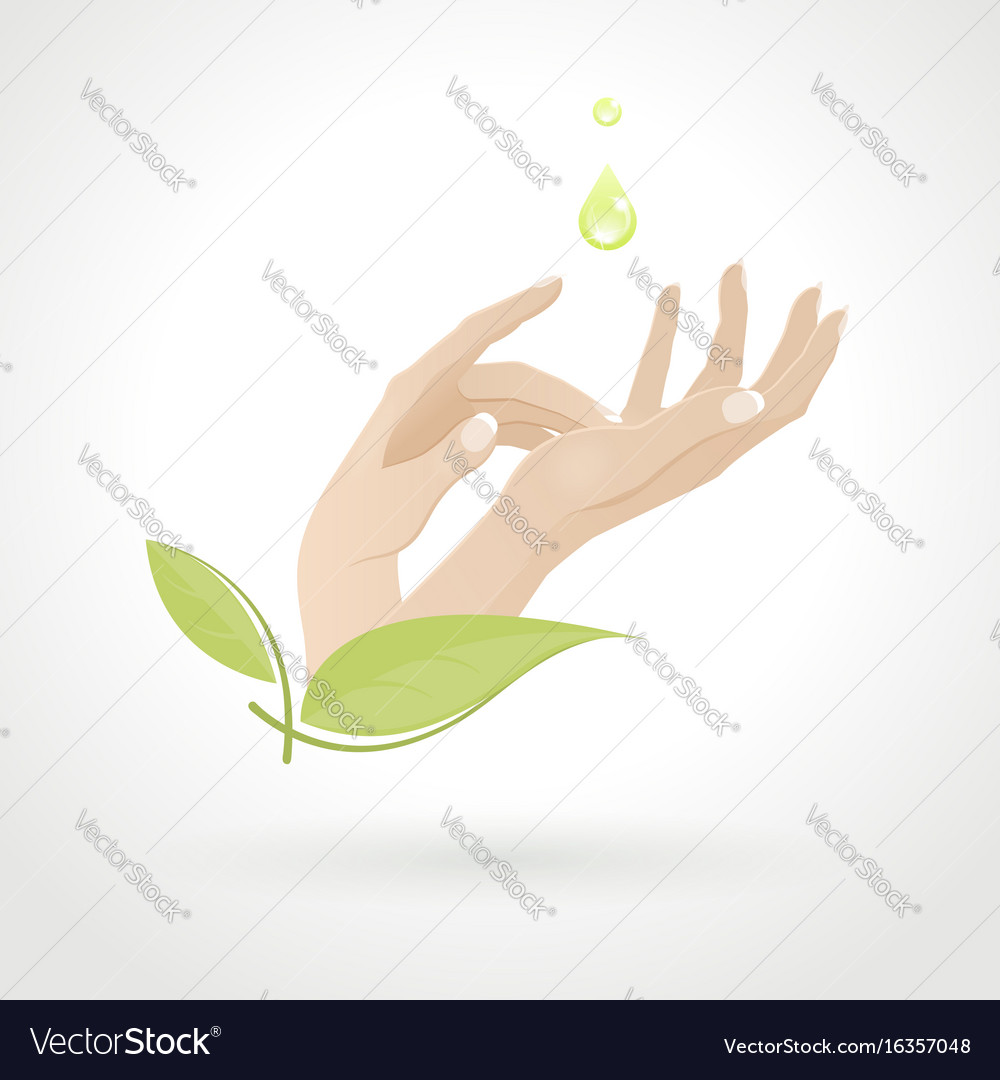 Female hand care with herbs