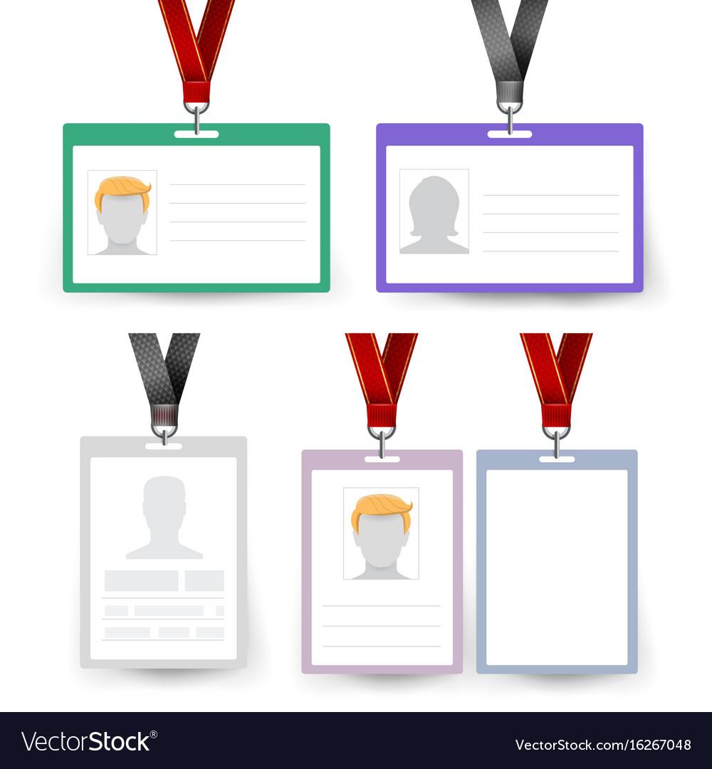 id badge set name tag employee card royalty free vector
