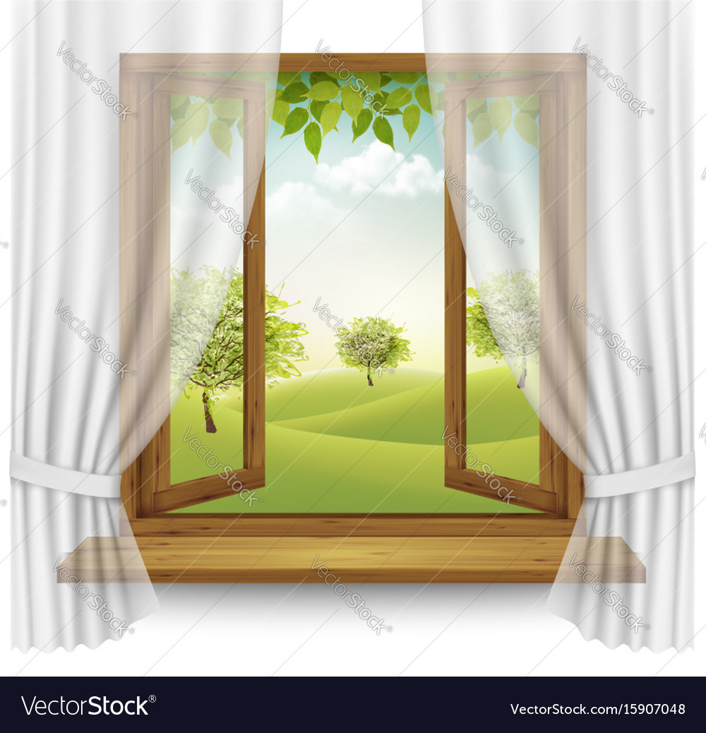 Nature summer background with wooden window frame Vector Image